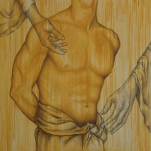 ANATOMIE - MIXED TECHNIQUE ON WOOD - cm 81x81