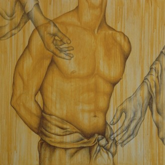 ANATOMIE - MIXED TECHNIQUE ON WOOD - cm 81x81